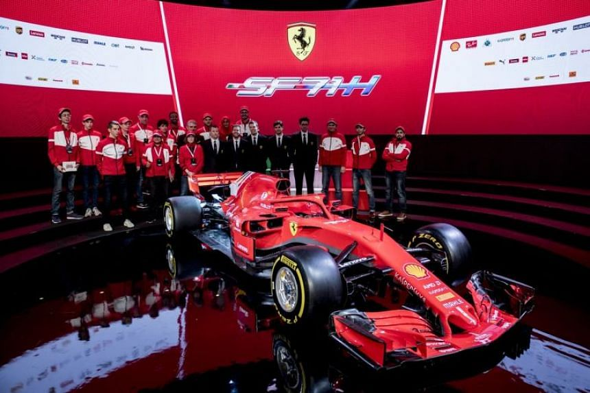 Ferrari unveiling the new car with a photo posted to social media.