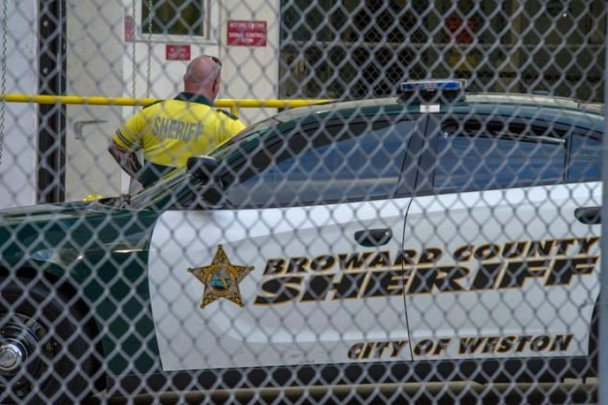 An officer of the Sheriff's Office is seen outside the Broward County jail in the city of Fort Lauderdale, Florida on Feb 15, 2018.