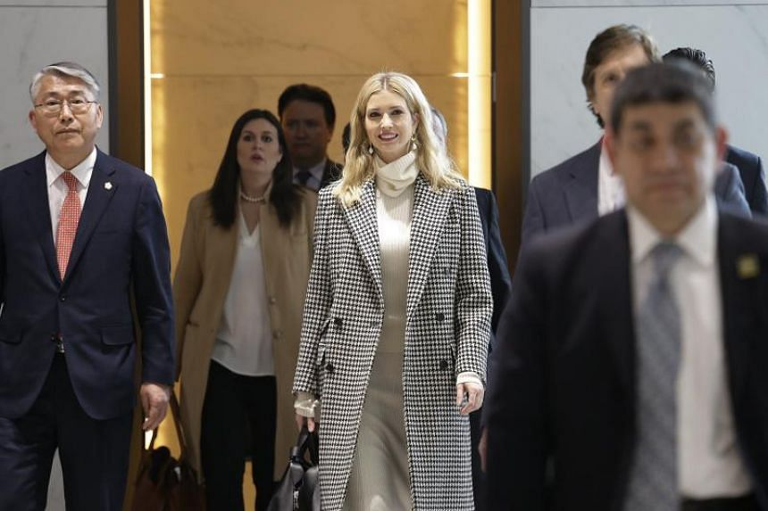 Ivanka Trump, advisor to and daughter of US President Donald Trump, arrives at Incheon International Airport, on Feb 23, 2018.