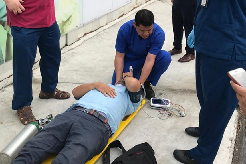 The hospital's staff assessed and stabilised the man's condition by applying a neck brace, checking his blood pressure and vital signs, administering oxygen and performing a neurological assessment.