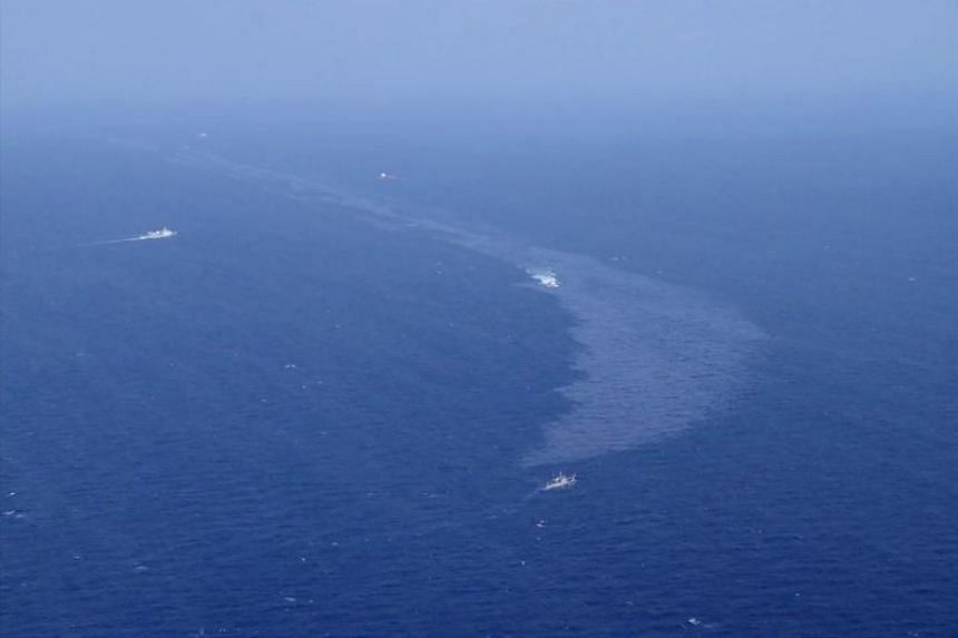 An oil slick is seen on the East China Sea on Jan 16, 2018, after Iranian tanker Sanchi burned and sank on Jan 6.