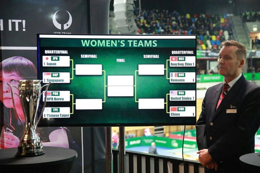 Singapore's women's table tennis team were drawn against world No. 2 side and Group A winners Japan in the quarter-finals of the ITTF Team World Cup.