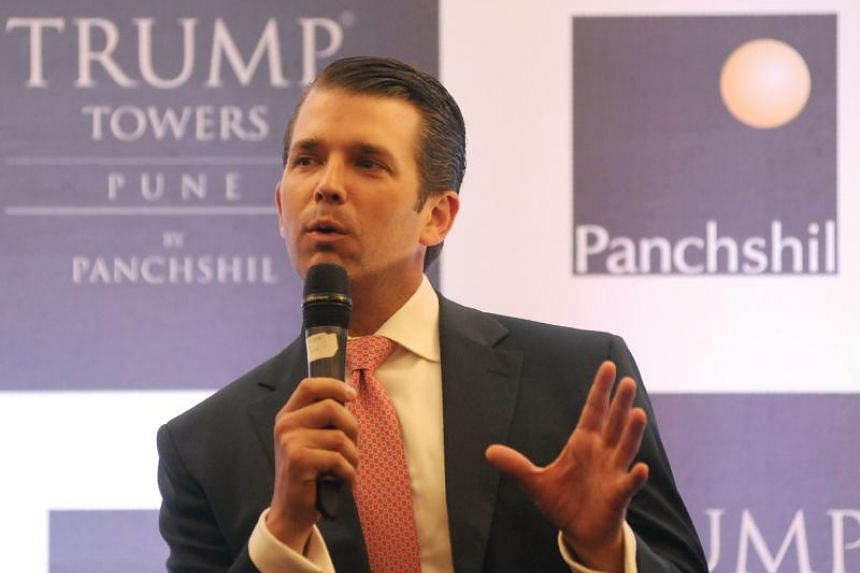 Mr Donald Trump Jr speaks during a promotional event for the Trump Towers complex in the Indian city of Pune on Feb 21, 2018.
