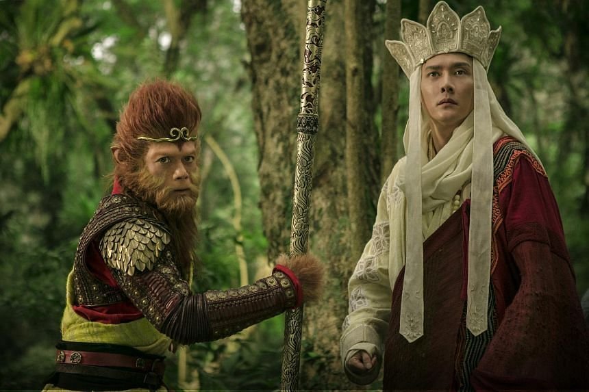 Aaron Kwok (left) and William Feng in The Monkey King 3.