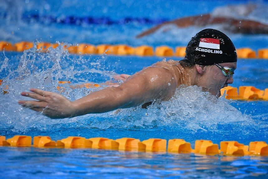 Joseph Schooling was first to turn in the two-lap race at 9.17sec, but was overtaken in the return leg by his University of Texas team-mates Tate Jackson and Brett Ringgold.