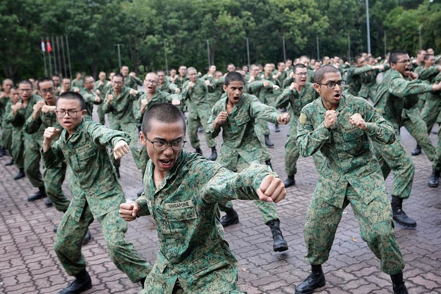 Recruits undergoing Basic Close Combat Training at an SAF unit at the Basic Military Training Centre (BMTC) at Pulau Tekong on Jan 23, 2018.