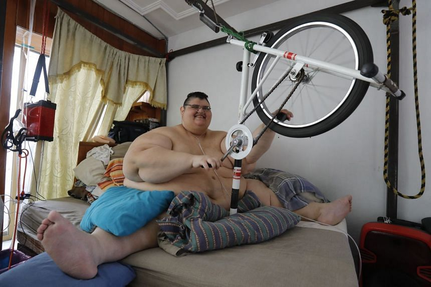 Juan Pedro Franco, the heaviest man in the world according to the Guinness World Records in 2017 with a weight of 595kg, at his house in Guadalajara, Mexico on Feb 17, 2018.
