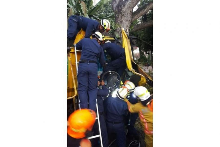 Officers from the elite Dart team rescued the man, who was trapped in the driver's seat, using hydraulic rescue tools.