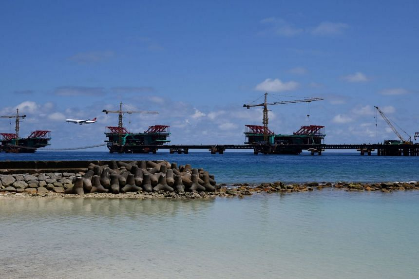 The under-construction China-Maldives Friendship Bridge is pictured near the city of Male on Feb 8, 2018.