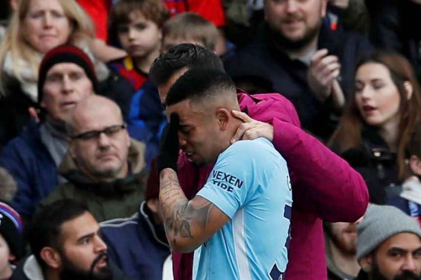 City's Gabriel Jesus goes off injured against Crystal Palace in December 2017.