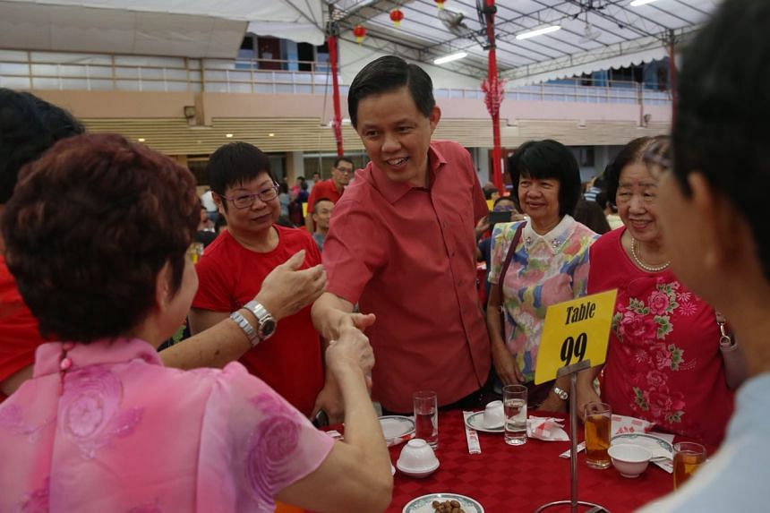 Minister in Prime Minister's Office Chan Chun Sing greets residents during the Tanjong Pagar GRC and Radin Mas SMC Chinese New Year Dinner, on Feb 24, 2018.