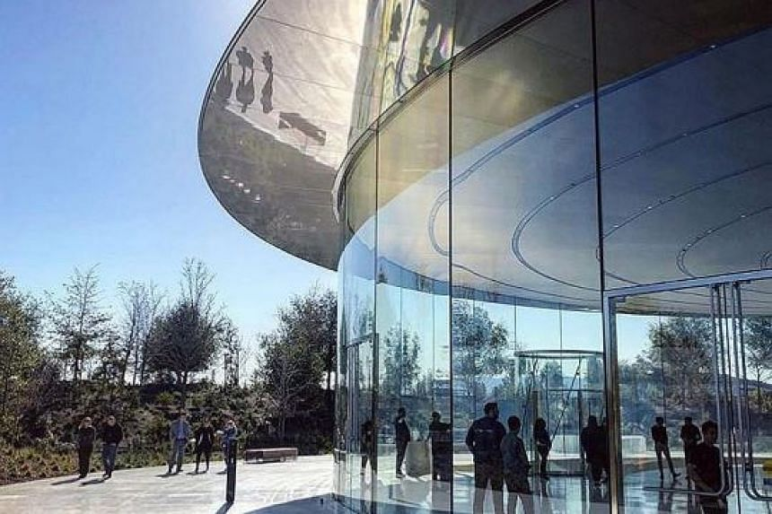 Curved panels of glass surround Apple's Cupertino, California-based office.