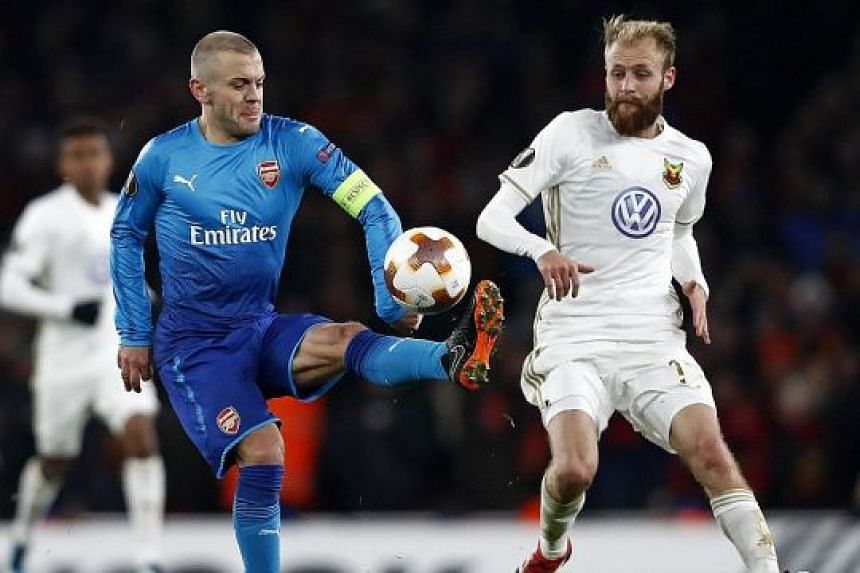 Arsenal may turn to Jack Wilshere, seen in action against Ostersunds' Curtis Edwards during Thursday's Europa League second leg, to anchor the midfield against Manchester City.