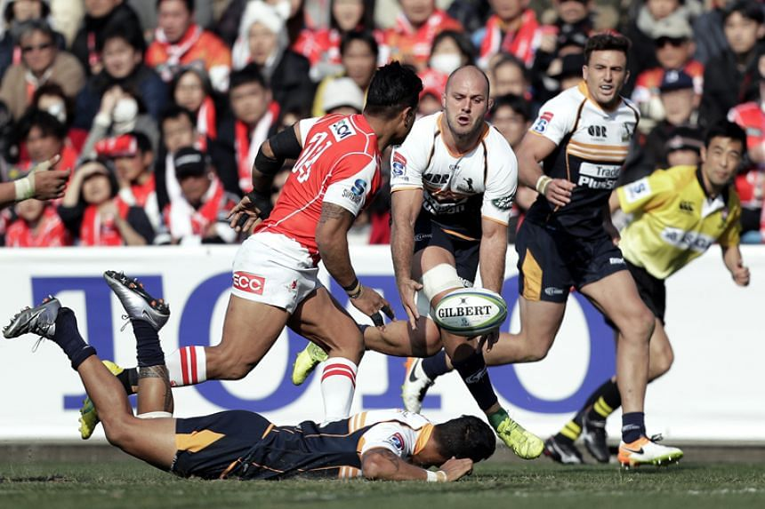 Lachlan McCaffrey (centre) of Australia's Brumbies in action during the Round 2 Super Rugby match against Japan's Sunwolves at Prince Chichibu Memorial Stadium in Tokyo on Feb 24, 2018.