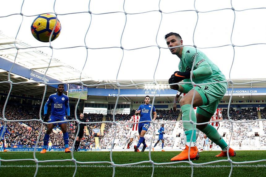 Stoke City's Jack Butland scores an own goal for Leicester City in their English Premier League match on Feb 24, 2018.