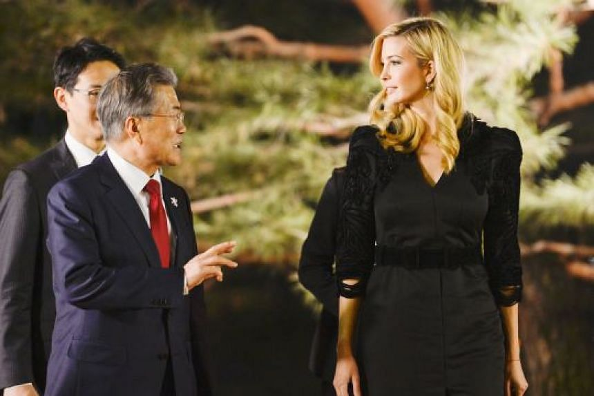 South Korean President Moon Jae In with Ms Ivanka Trump at the Blue House yesterday. The US sanctions will be announced while Ms Trump is visiting South Korea.