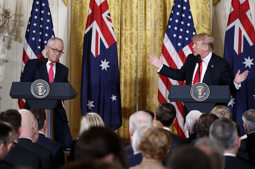 US President Donald Trump and Australian Prime Minister Malcolm Turnbull at a joint press conference in the White House on Feb 23, 2018.