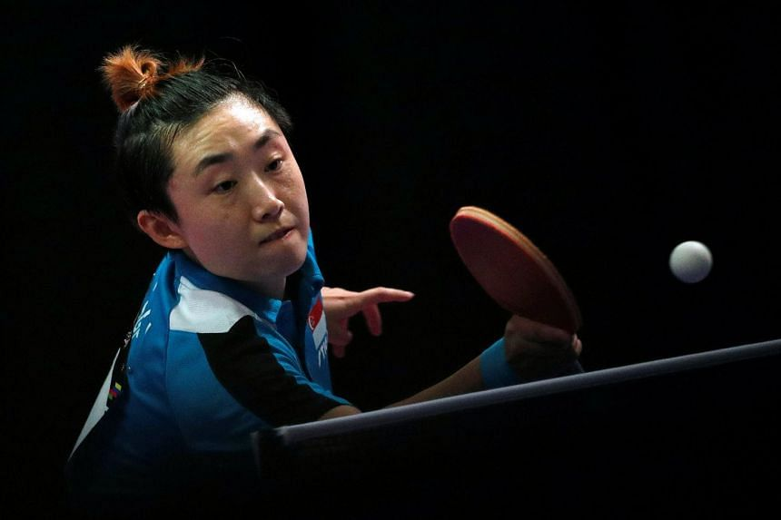 Singapore's Feng Tianwei in action at the Women's Singles Table Tennis Finals during the SEA Games in Kuala Lumpur on Aug 22, 2017.