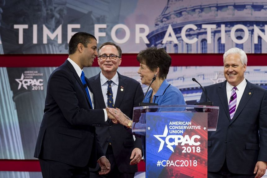 """FCC Chairman Ajit Pai was honoured at the Conservative Political Action Conference in Oxon Hills, Maryland, by the NRA with the """"Charlton Heston Courage Under Fire Award""""."""