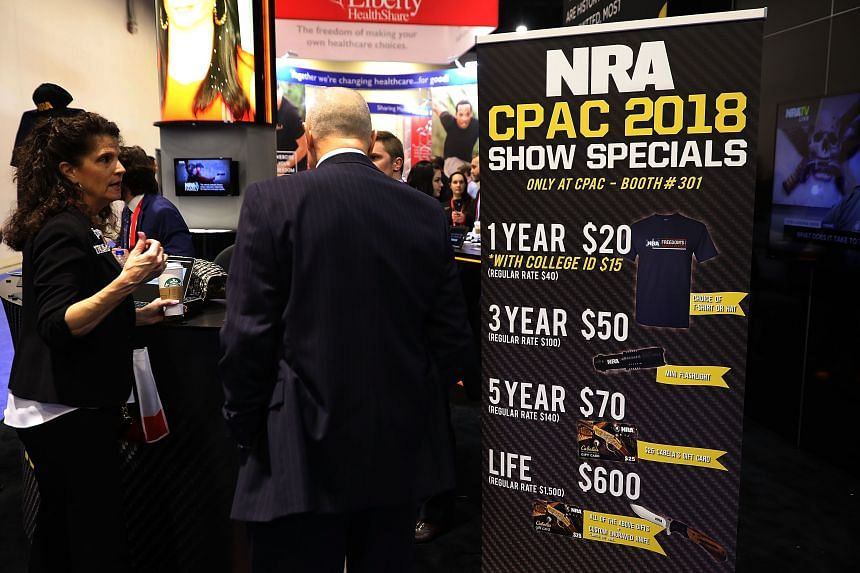 The National Rifle Association's booth inside the Conservative Political Action Conference Hub at the Gaylord National Resort and Convention Center in Maryland on Feb 23, 2018.