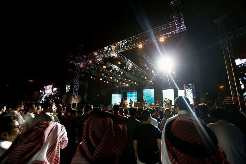 People attending the jazz festival in Riyadh, Saudi Arabia, on Feb 23, 2018.