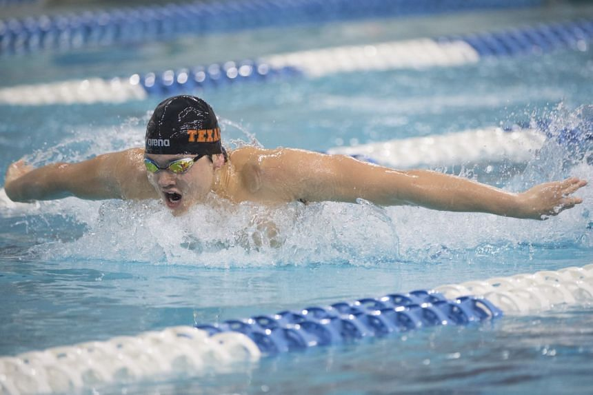 Joseph Schooling (pictured) clocked 45.10sec to finish ahead of University of Texas team-mates Brett Ringgold (46.18sec) and Tate Jackson (46.24sec) in the final.
