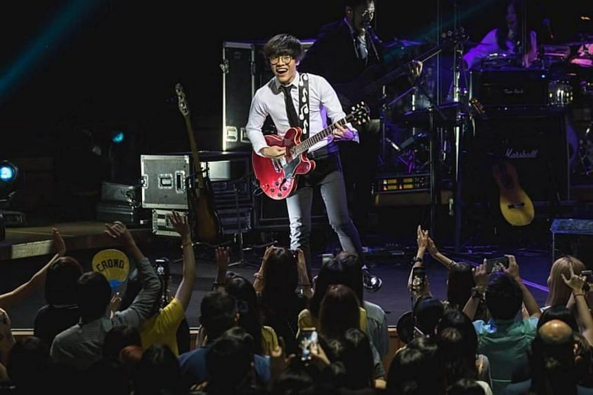 Taiwanese singer-songwriter Crowd Lu during his concert at the Esplanade Concert Hall on Feb 23, 2018.