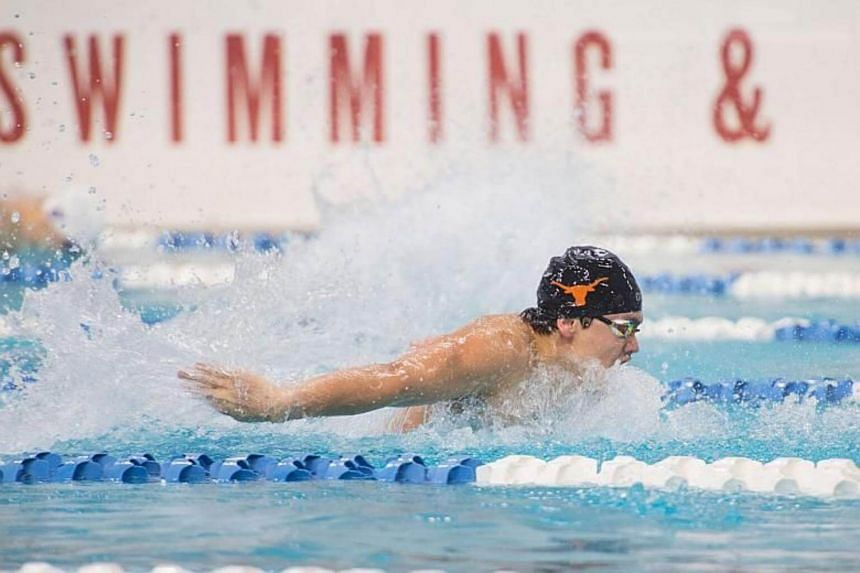 Joseph Schooling won the 200-yard butterfly final in 1min 42.23sec, touching the wall ahead of West Virginia University's David Dixon and fellow University of Texas swimmer Sam Pomajevich.