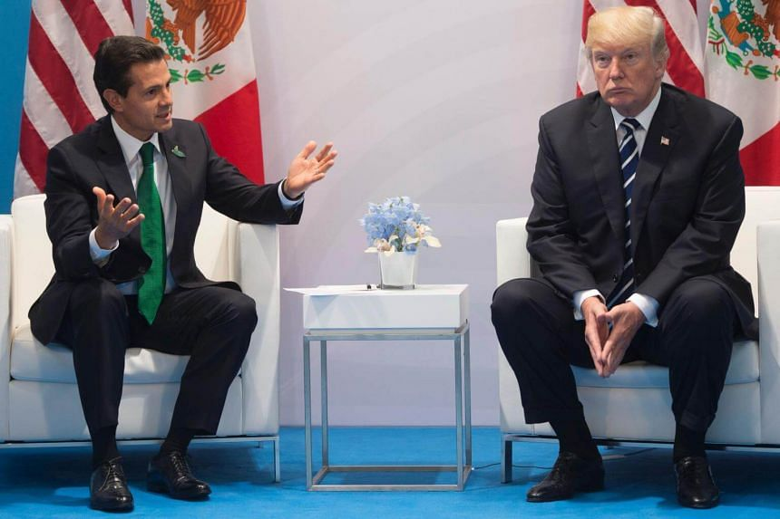 US President Donald Trump and Mexican President Enrique Pena Nieto at a meeting on the sidelines of the G20 Summit in Hamburg, Germany, on July 7, 2017.