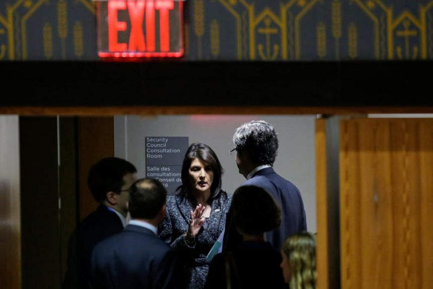 US Ambassador to the United Nations Nikki Haley (centre) and French Ambassador to the United Nations Francois Delattre speak before the United Nations Security Council vote for ceasefire to Syrian bombing in eastern Ghouta, at the United Nations head