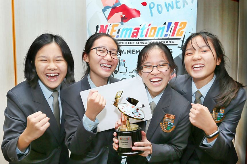 (From left) Cedar Girls' Secondary School's Chai Gien Lyn, 16, Kaila Boh Tsui Ning, 15, Kayla Yong Enxin, 15 and Lua Tze Teng, Tanya, 15, came up tops for the student category of N.E.mation's 12th edition.
