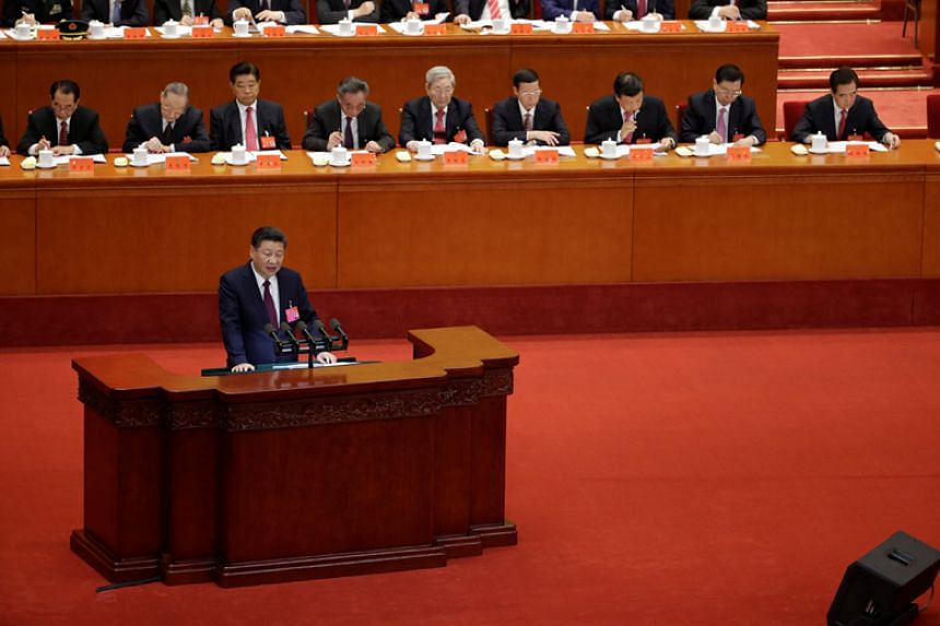 Chinese President Xi Jinping delivers his speech during the opening session of the 19th National Congress of the Communist Party of China at the Great Hall of the People in Beijing on Oct 18, 2017.