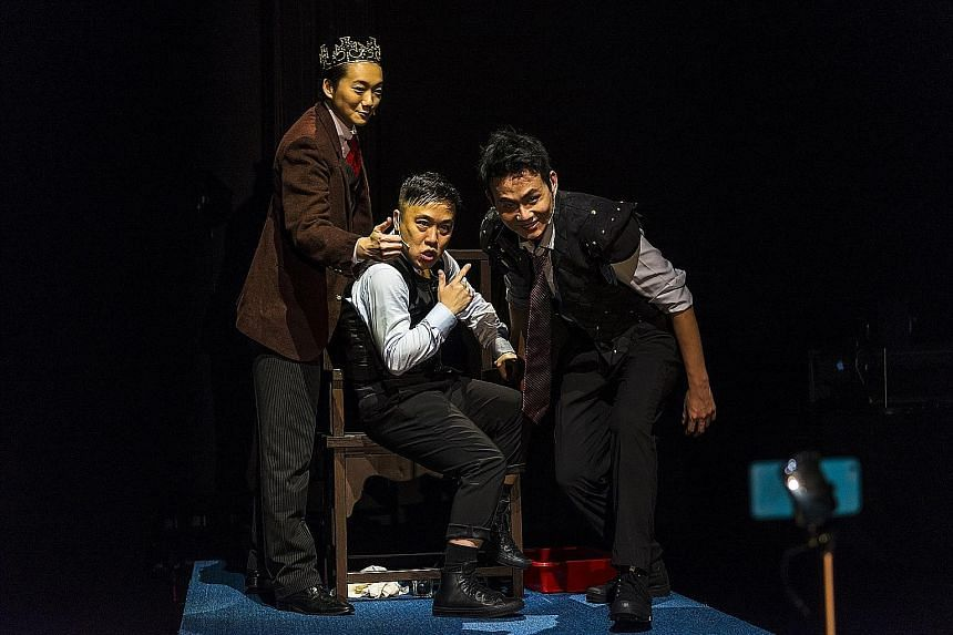 (From far left) Chao Yi-Lan, Oliver Chong and Wang Ching-Chun in Blood & Rose Ensemble by Shakespeare's Wild Sisters Group. Crowd Lu's lively, idiosyncratic banter gave the show an element of fun. Singer-actor Sugie Phua (left) plays a wanderer with