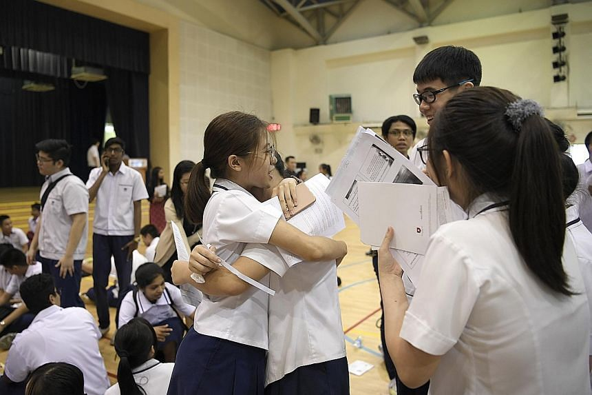 Serangoon Garden Secondary School students reacting after getting their O-level exam results last year. The key to doing well in an exam is to know what is required and then to work consistently towards it, says the writer. If you do not do well at f