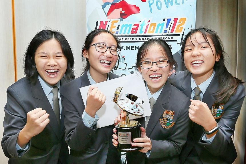 The team from Cedar Girls' Secondary School - comprising (from far left) Chai Gien Lyn, 16; Kaila Boh Tsui Ning, 15; Kayla Yong Enxin, 15; and Tanya Lua Tze Teng, 15 - won in the student category at the 12th edition of N.E.mation.