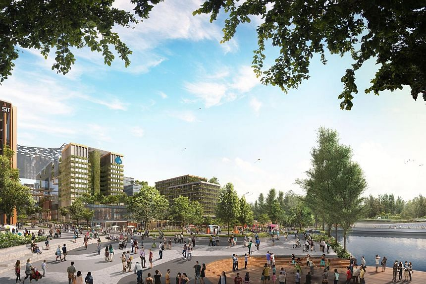 The upcoming Punggol Digital District, which consists of a JTC business park, the Singapore Institute of Technology and facilities such as a hawker centre and community club, will also have community spaces to facilitate interaction.