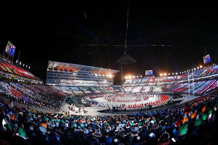 Artists in a colourful performance during the Games' closing ceremony. The Winter Olympics have given a boost to engagement between the two Koreas after more than a year of sharply rising tensions over the North's missile tests.