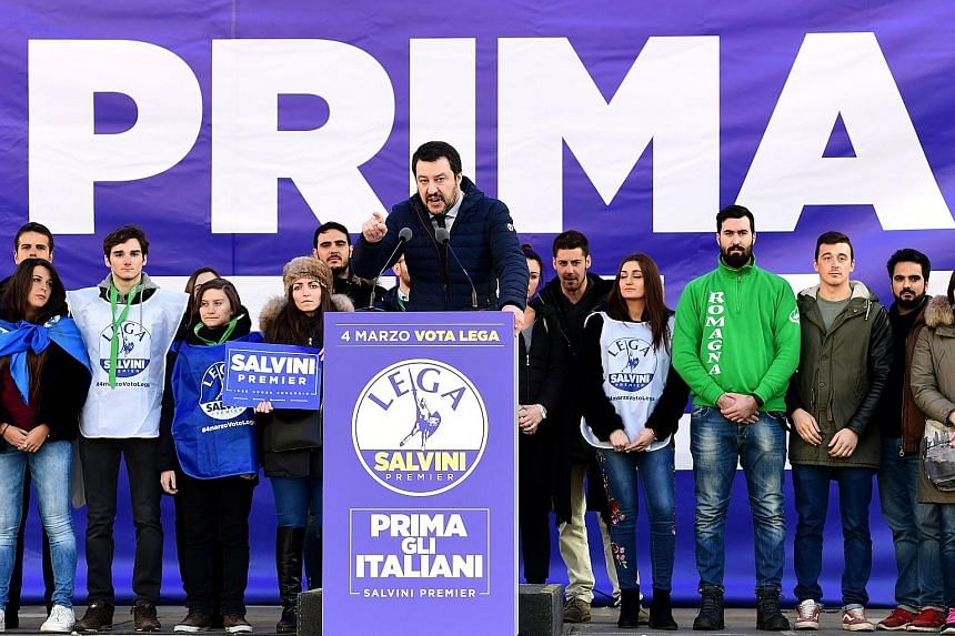 Right-wing party leader Matteo Salvini addressing supporters during a campaign rally in Milan last Saturday, ahead of Italy's general election next week.