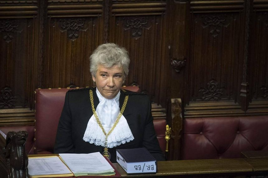 Newly appointed Lady Usher of the Black Rod, Sarah Clarke, is formally introduced in the House of Lords in London on Feb 20, 2018.