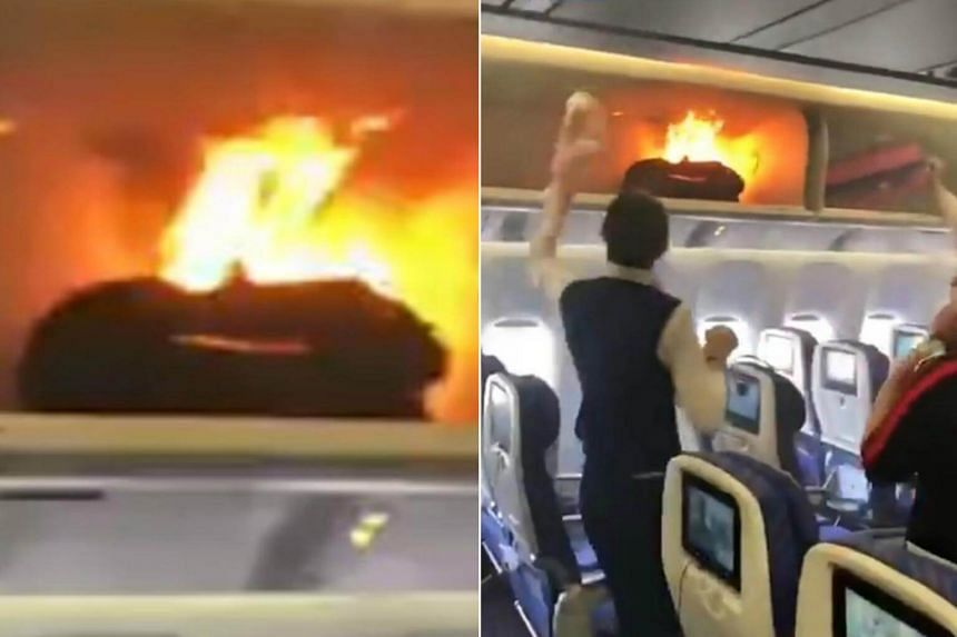 The fire caused a three-hour flight delay on flight CZ3539, which had been scheduled to depart for Shanghai Hongqiao International Airport.