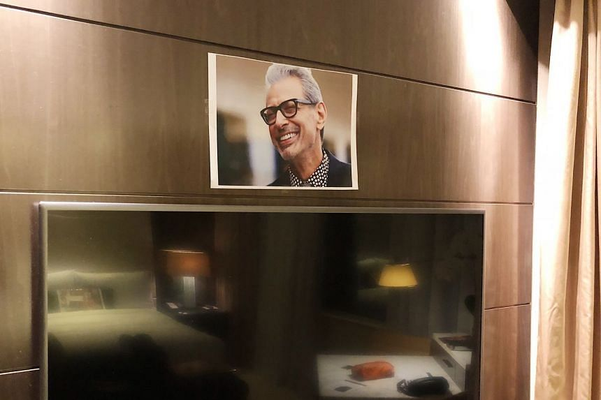 Another photo of Jeff Goldblum, placed above the TV, welcomed the guest.