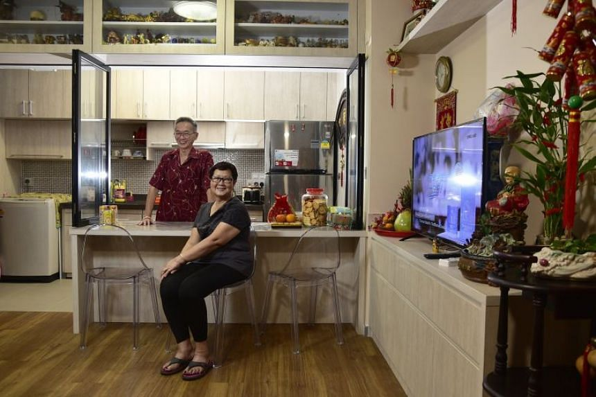 Madam Koh Kim Keow,68, and her husband Mr Yeoh Seh Dong, 69, have recently moved in a new two-room Flexi flat in Kampung Admiralty.