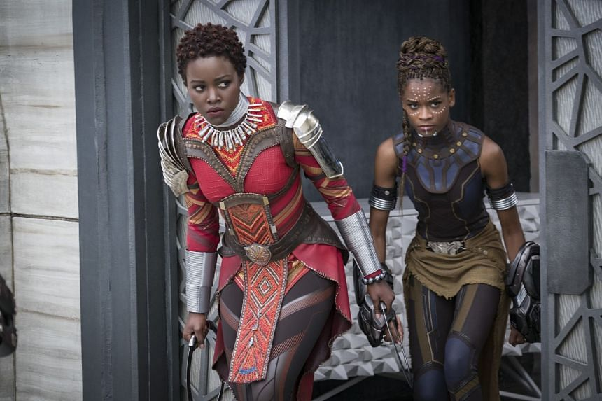 Nakia (Lupita Nyong'o), left, and Shuri (Letitia Wright) in Black Panther.