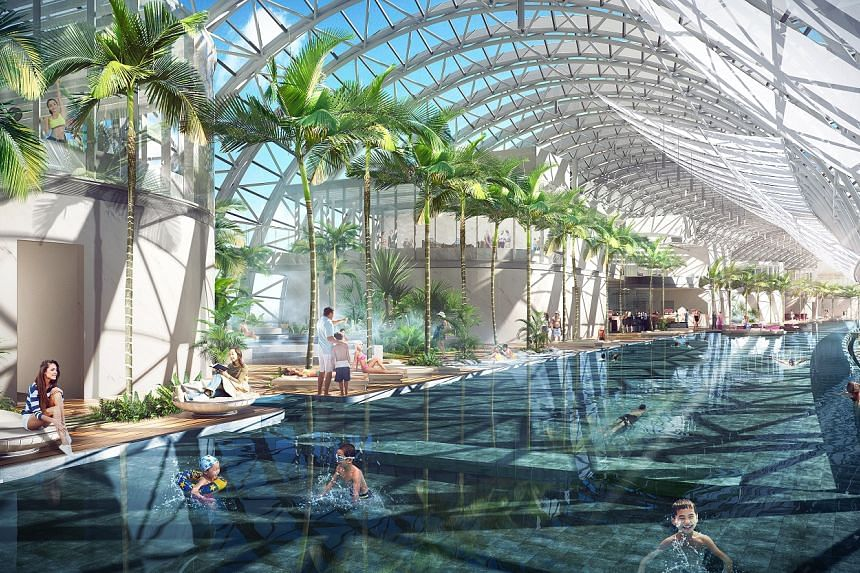 Designed as the centre of attraction, it houses a rich array of amenities, including a themed observation deck and sky gardens, an infinity pool and a food and beverage zone.