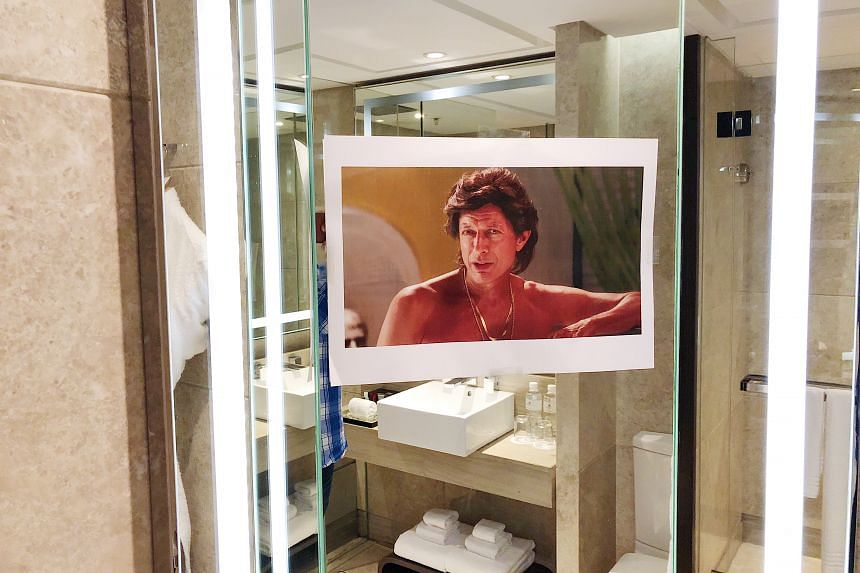 The hotel obliged to the guest's request by putting up photos of actor Jeff Goldblum in the room.