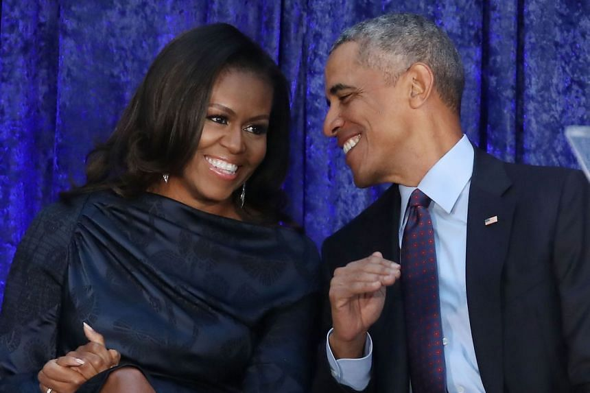 Barack and Michelle Obama attending the unveiling of their official portraits in Washington on Feb 12, 2018.