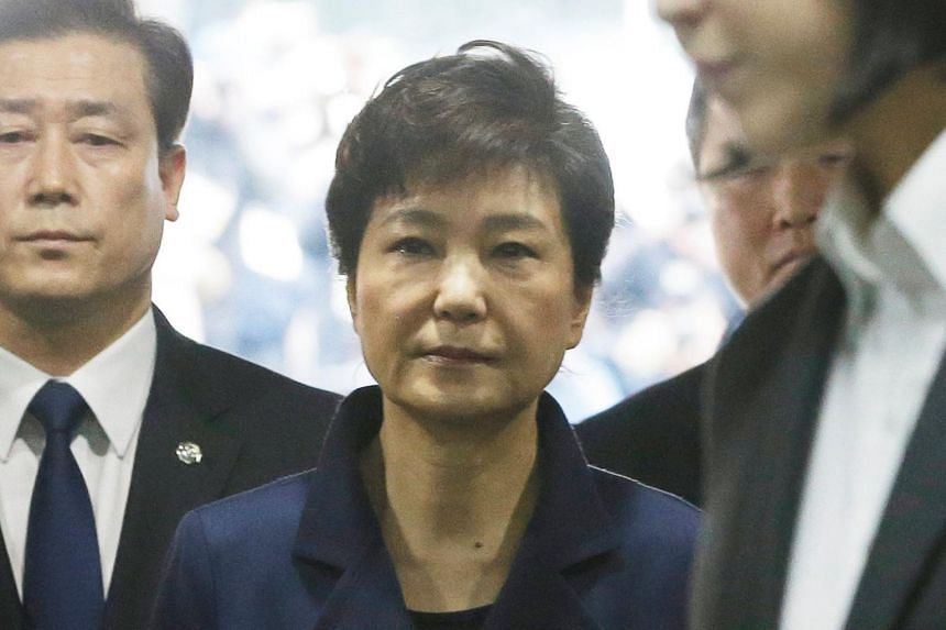 Ousted South Korean President Park Geun Hye arriving for questioning on her arrest warrant at the Seoul Central District Court on Mar 30, 2017.