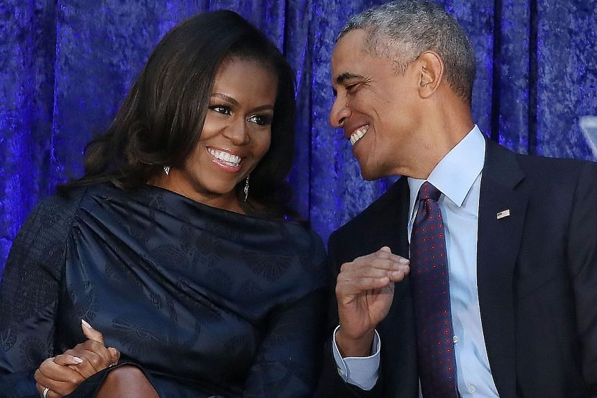 Becoming by Michelle Obama (left, with former United States president Barack Obama) will be released on Nov 13.