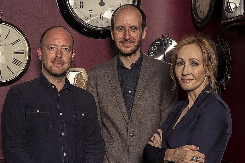 From left: John Tiffany, director of Harry Potter And The Cursed Child; Jack Thorne, writer; and author Joanne Kathleen Rowling, at the Palace Theatre in London.