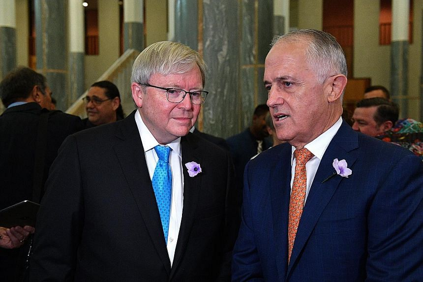 "Former Australian prime minister Kevin Rudd (left) accused Prime Minister Malcolm Turnbull of ""fearmongering"", following new laws to curb foreign interference."